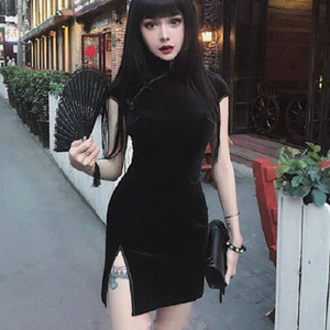 Robe en velours Robe d'été Femmes chinoise Qipao Harajuku Tight Sexy Gothic Punk Noir Rose Vestidos