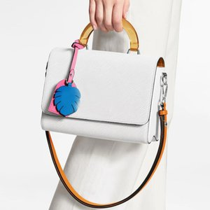 2020 summer hot style medium handbag with plexiglass handle and leather luxury women's bag with colorful famous brand and hanging decoration