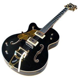 Левша Semi-Hollow Body Golden Аппаратная 2 Пикапы гитара электрическая с большой тремоло, палисандровой накладкой, можно подгонять