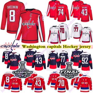 2018 capitales Copa Stanley campeón Washington jerseys 8 Alex Ovechkin 77 TJ OSHIE 70 Braden Holtby 43 Tom Wilson 74 CARLSON camisetas de hockey