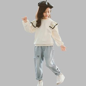 Children Clothes Sweatshirt + Jeans Tracksuits For Girls Ruffles Girls Sets Clothing Cartoon Tracksuits For Children