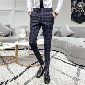 2020 Brand clothing spring Fashion Men Leisure Suit pants Male pure cotton High quality plaid business suit Trousers 28-36