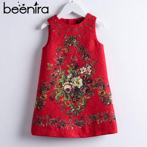 Beenira Девушки Красные Платья 2019 Новый Европейский И Американский Стиль Дети Без Рукавов Flore Печатных Платье Для Вечеринок Детская Одежда Платье Y19061801