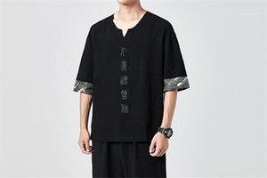 Estilo Chinês Tops Carta Bordado Homme Pescoço V manga curta Tees Mens Painéis Tshirts Mens comprimento regular