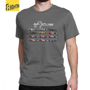 رجل كل السيارات آيتون سينا الفورمولا 1 سباق السيارات F1 تي شيرت طاقم الرقبة قصيرة الأكمام قمم القطن الخالص تي شيرت الصيف تي شيرت Y19072201
