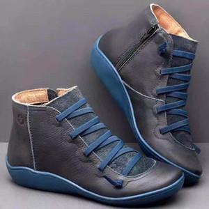 En Yeni Kış Kar Boots Kadınlar hakiki deri Yarım bot Klasik Siyah Ayakkabı Flats eğitmenler boyutu 35-43 bağcıklarını