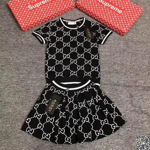Menina de terno verão coreana Crianças vestido de manga curta Twinset Em crianças Carta Stripe Roupa Crianças vestidos de roupa Set Crianças 092009