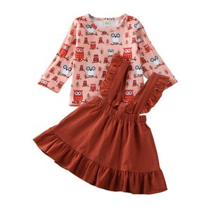 1-5Years Kids Baby Girls Clothes Long Sleeve Owl Top T-Shirt Strap Dress Casual Outfit
