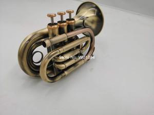 Popular Mini bolso Trompete Bb Plano Material Latão Antique cobre Luvas Instrumento de Sopro com bocal Bolsa de Transporte