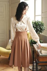 VICONE 2pcs spring button shirt braces skirt suits Retro Princess Dress two pcs