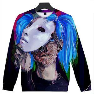 Venta al por mayor cara Sally 3D de ancho completo Harajuku impresión hombres y mujeres de la calle hip-hop suéter de cuello redondo amantes de la camiseta de alta calidad de vellón