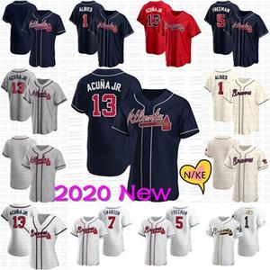 13 Ronald Acuna Jr. 2020 New Jersey Freddie Freeman Chipper Jones Aaron Murphy Shane Greene Foltynewicz Justiça Glavine jérsei de basebol