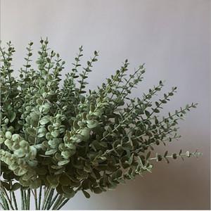 Yapay çiçek Okaliptüs oda ev dekorasyon plastik gerçek dokunmatik çiçek duvar düğün dekorasyon yaşayan 5 şube etli bitkiler Yapraklar