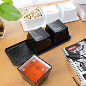 3 adet / takım yenilik yaratıcı basit klavye Ctrl Alt Del tipi çay kahve kupa bardak konteyner Plastik bardak Tepsi ile