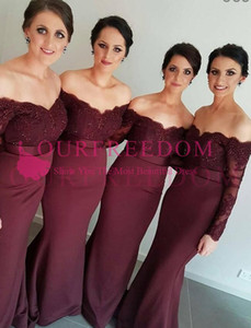 2019 Burgundy Off The Shoulder Bridesmaid Dresses Long Sleeve Lace Appliques Mermaid Zipper Back Maid Of Honor Wedding Guest Gown Country