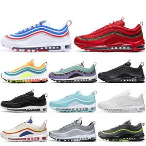 Nike Air Max 97 Off White Con calcetines Zapatillas de deporte de aire para hombres y mujeres de alta calidad Verde menta Zapatillas de deporte blancas y negras Zapatillas