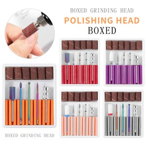 5 type Set Boxed Grinding Head Polishing Head Nail Tools Manicure Set Ceramic Tungsten Alloy Nail Buffing Callus Treatment Filing