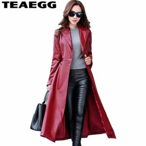 TEAEGG Longue Veste En Cuir Femmes Parka Automne Hiver Manteau Femmes Vin Rouge PU En Cuir Vestes Parka Chaquetas Cuero Mujer AL135