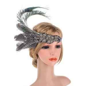 Penas de prata frisada Flapper Headband 1920 s meninas Flapper faixa de cabelo acessórios de cabelo de casamento para a noiva