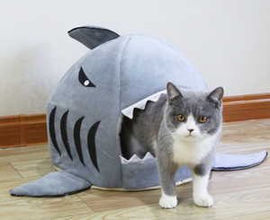 Sharked Shaped Dog House Dog Cats Pet Pet House Mat Pequeño perro Cat Bed Puppy House Pet Products