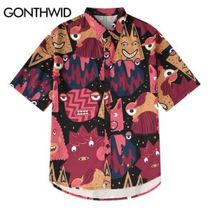 GONTHWID Cartoon Graffiti Print Hawaiian Beach Shirts Summer Casual Short Sleeve Shirt Male Fashion Hip Hop Streetwear Shirts