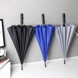 شعار مخصص لعبة غولف قوي صامد للريح المظلة طويل مستقيم التعامل مع شبه التلقائي 16 العظام المظلات الأعمال للجنسين الصلبة مظلة DH0995 T03