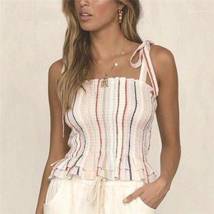 Contraste Mode couleur Bow Jupettes camisoles femmes Designer rayé Imprimer camisoles Sexy Crop Top Slash Neck