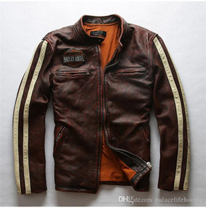 Short Washed Graphite Distressed Top Layer Cowhide Leather Jacket Designer Mens Harley Leather Coat Fashion