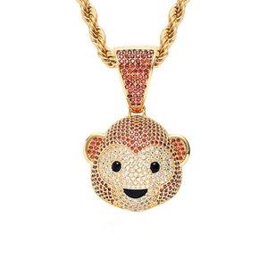 Sevimli Maymun Kolye Kolye Altın Kaplama Bakır Kakma Kübik Zirkonya Maymun Kolye 60 cm Paslanmaz Çelik Zincir