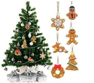 6pcs establecen cerámica suave del copo de nieve del hombre y de casa del árbol de Navidad Adornos gota colgante de pan de jengibre del árbol de navidad Decoración