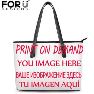 Forudesigns Yeni Kadın Omuz Bez Çanta Özelleştirme Resim / Logo Lüks PU El Çantası Lady Çantası ile Fermuar bolsa Feminina