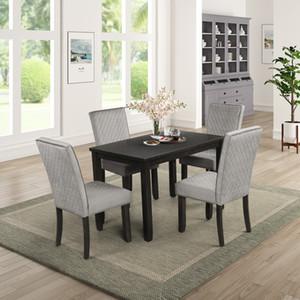 5 PC Esszimmermöbel Set Polster Esstisch Stühle aus Holz Dining Set Zimmer Küche 4 Personen