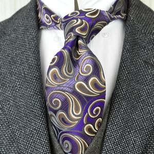 Elegante F18 Brown púrpura de Paisley de los hombres de corbata corbatas 100% seda jacquard tejida al por mayor Envío gratuito boda Business Casual