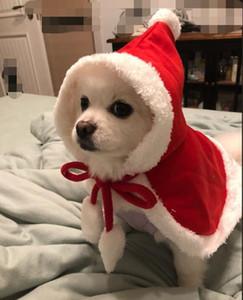 Fournitures de Noël Pet Chien Rouge À Capuche Cape Cape Chien De Chat Chat Chiot Costumes Costumes Avec Chapeau Manteau Père Noël Vêtements Cadeau Pet Epacket