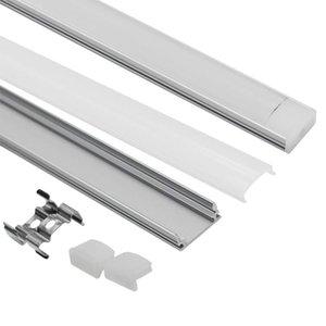 Sistema de canal de aluminio LED en forma de U con tapa, tapas y clips de montaje Perfil de aluminio para instalaciones de luz LED Strip