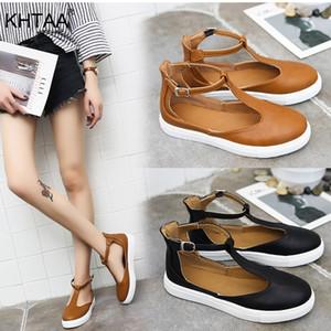 KHTAA Sandalias de Mujer Tallas grandes Verano Mujer Zapatos Planos T Correa Plataforma Mujer Hebilla Correa Sandalia Casual Señoras Calzado