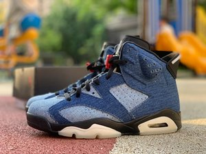 2020 neuester Jumpman 6 vi blau gewaschener Denim varsity rot schwarz männer basketball turnschuhe 6s cowboy jeans herren sportschuhe