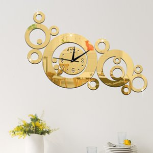 Creative living room sofa setting wall clock Mirror quartz clock environmental DIY clock mirror circle minutes free shipping