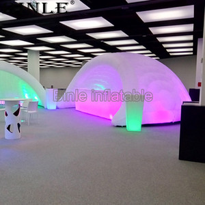 Casa Bar inflável iglu branco tenda dome evento iglu disco party pavilhão LED tenda com ventilador para venda