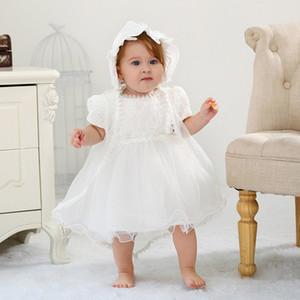 Ребёнки Крещение Платья с Hat Кружева с коротким рукавом Новорожденные платье Крещение Крещение платья девушки принцессы платье свадебное платье 0-18M