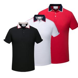 2019 de lujo de Europa París patchwork hombres Moda Hombres camiseta diseñador de la camiseta de polo casual de lujo de los hombres ropa de algodón medusa Tee