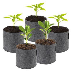 1/2/3/5/7/10 Gallon usine Sacs GROW non-tissé Aeration Tissu Pots Pouch conteneur racine respirante dégradables auto-Absorbant Pots VT0511