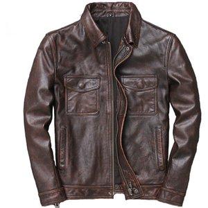 ZVAQS Men couro couro veste cuir homme 2020 homens 100% jaquetas de couro genuíno motociclista qualidade do vintage homme casaco blusão cuir