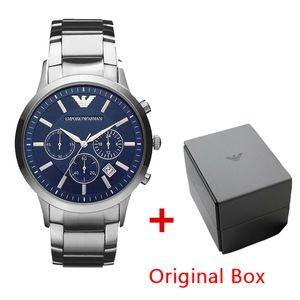 Drop Ship Box Mens clássico de luxo Hot Selling Top New AR2434 AR2448 AR2454 AR2453 em aço inoxidável relógio de pulso Men Watch Original