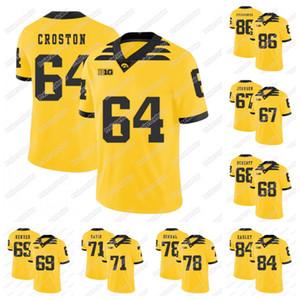 2019 Iowa Hawkeyes 63 Austin Blythe 64 Cole Croston 67 Jaleel Johnson 69 Keegan rendu 71 Carl Davis Football américain universitaire Jersey