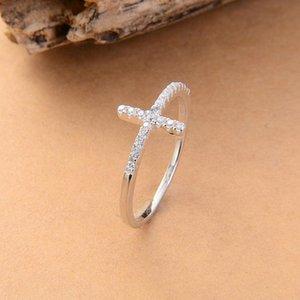 Trend Сбоку Крест серебряный позолоченный кольца ювелирных изделий способа освобождают перевозку груза розового золота гальваническим кристалл марочные обручальное кольцо для женщин