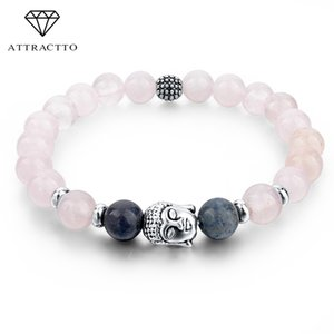 ATTRACTTO Fashion Buddha Yoga Pink Bracelets Bangles For Women Elastic Natural Tiger Eye Stone Beads Jewelry Bracelets BR150249