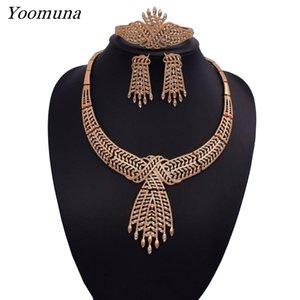 2019 Fashion Dubai Silver / gold Color Jewelry Sets Collar conjuntos de joyas para mujeres Conjunto de joyería nupcial africana de lujo