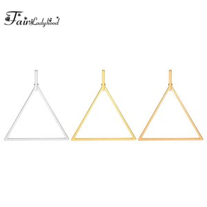 FairLadyHood 2020 New Fashion Stainless Steel Triangle Hoop Earrings Gold Silver Rose Color Earrings For Women Classic Jewelry