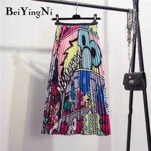 Beiyingni 28 Styles Europe Cartoon Pattern Pleated Skirt Women Street Korean Mid-Calf High Elastic Quality Skirts Party Holiday CX200701